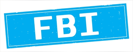 FBI text, on full cyan rectangle vintage textured stamp sign. Stock Photo