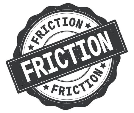 FRICTION text, written on grey, lacey border, round vintage textured badge stamp. Imagens