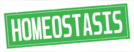 HOMEOSTASIS text, on full green rectangle vintage textured stamp sign.