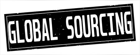 GLOBAL SOURCING text, on full black rectangle vintage textured stamp sign. Stock Photo