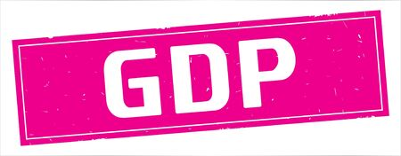 GDP text, on full pink rectangle vintage textured stamp sign. Stock Photo