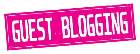 GUEST  BLOGGING text, on full pink rectangle vintage textured stamp sign.