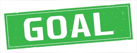 GOAL text, on full green rectangle vintage textured stamp sign.