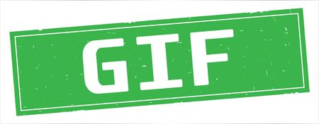 GIF text, on full green rectangle vintage textured stamp sign.