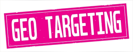 GEO  TARGETING text, on full pink rectangle vintage textured stamp sign.
