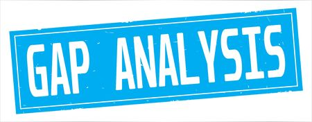 GAP ANALYSIS text, on full cyan rectangle vintage textured stamp sign.