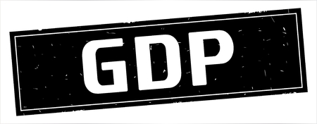 GDP text, on full black rectangle vintage textured stamp sign. Stock Photo