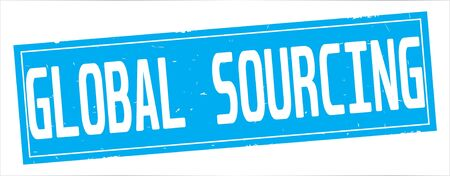 GLOBAL SOURCING text, on full cyan rectangle vintage textured stamp sign. Stock Photo
