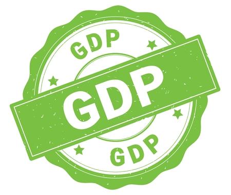 GDP text, written on green, lacey border, round vintage textured badge stamp.