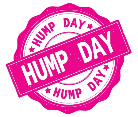 HUMP DAY text, written on pink, lacey border, round vintage textured badge stamp.