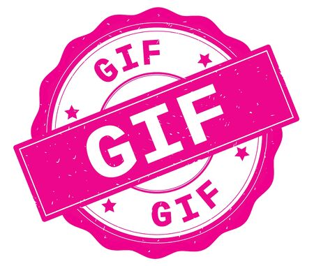 GIF text, written on pink, lacey border, round vintage textured badge stamp. Stock Photo