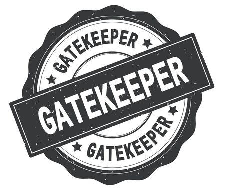GATEKEEPER-Text, geschrieben auf graue, lacey Grenze, runder Vintager strukturierter Ausweisstempel.