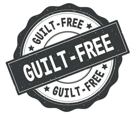 GUILT FREE text, written on grey, lacey border, round vintage textured badge stamp. Stockfoto