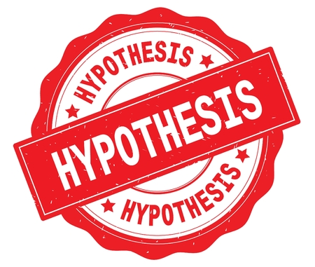 HYPOTHESIS text, written on red, lacey border, round vintage textured badge stamp.