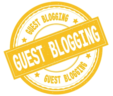 GUEST BLOGGING , written text on yellow round rubber vintage textured stamp. Stock Photo