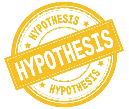 HYPOTHESIS , written text on yellow round rubber vintage textured stamp. Stock Photo