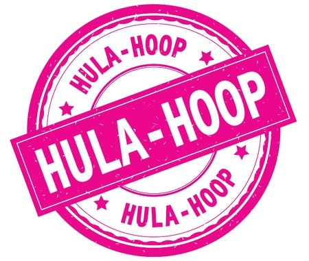 HULA HOOP , written text on pink round rubber vintage textured stamp. Фото со стока