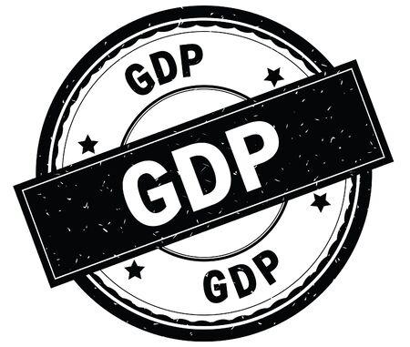 GDP written text on black round rubber vintage textured stamp.