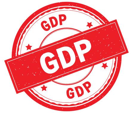 GDP written text on red round rubber vintage textured stamp.