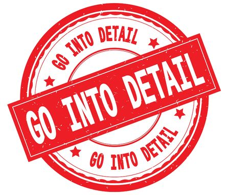 GO INTO DETAIL written text on red round rubber vintage textured stamp. Stock Photo