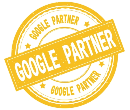 GOOGLE PARTNER , written text on yellow round rubber vintage textured stamp. Stockfoto