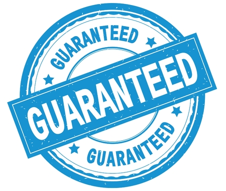 GUARANTEED , written text on cyan round rubber vintage textured stamp.