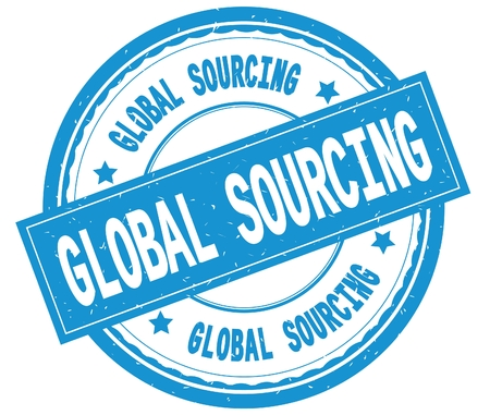 GLOBAL SOURCING , written text on cyan round rubber vintage textured stamp.