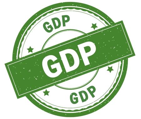GDP , written text on green round rubber vintage textured stamp.