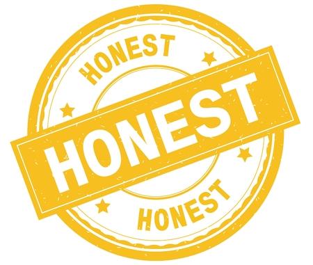 HONEST , written text on yellow round rubber vintage textured stamp.