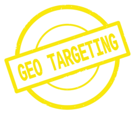 GEO TARGETING text, written on yellow simple circle rubber vintage stamp.