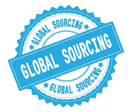 GLOBAL SOURCING blue text round stamp, with zig zag border and vintage texture.