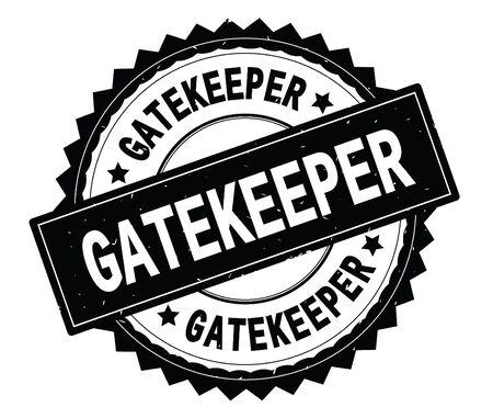 Runder Stempel des schwarzen Textes GATEKEEPER, mit Zick-Zack-Grenze und Vintager Beschaffenheit. Standard-Bild