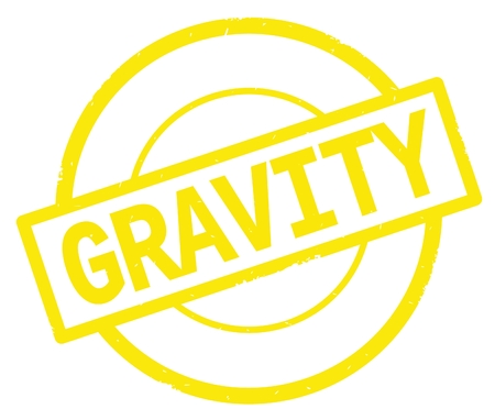 GRAVITY text, written on yellow simple circle rubber vintage stamp.