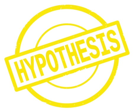 HYPOTHESIS text, written on yellow simple circle rubber vintage stamp.
