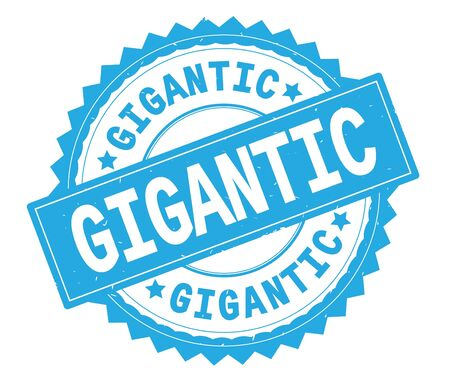 GIGANTIC blue text round stamp, with zig zag border and vintage texture.