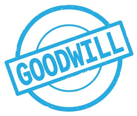 GOODWILL text, written on cyan simple circle rubber vintage stamp. Stock Photo