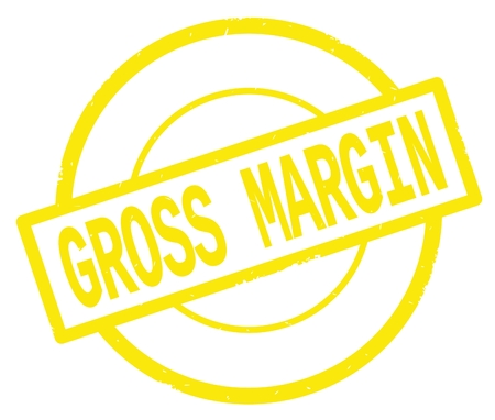 GROSS MARGIN text, written on yellow simple circle rubber vintage stamp. Imagens