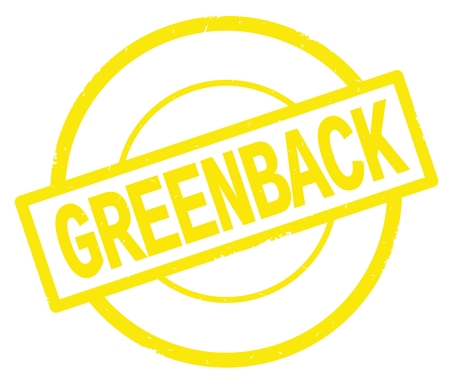GREENBACK text, written on yellow simple circle rubber vintage stamp.