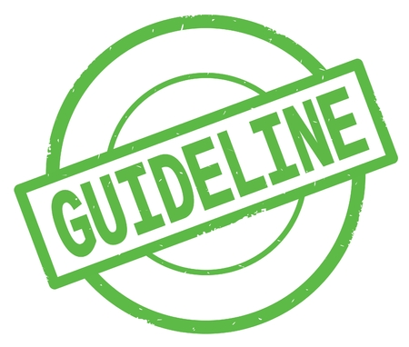 GUIDELINE text, written on green simple circle rubber vintage stamp.