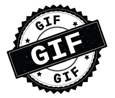 GIF black text round stamp, with zig zag border and vintage texture. Stock Photo