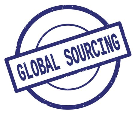GLOBAL SOURCING text, written on blue simple circle rubber vintage stamp.