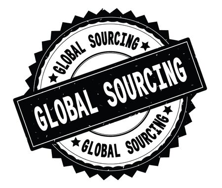 GLOBAL SOURCING black text round stamp, with zig zag border and vintage texture.
