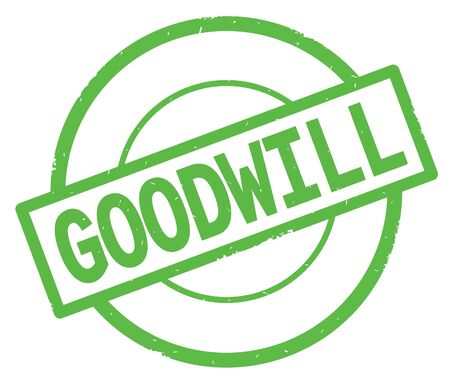 GOODWILL text, written on green simple circle rubber vintage stamp. Stock Photo