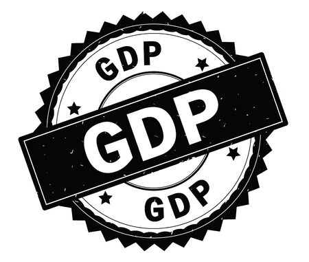 GDP black text round stamp, with zig zag border and vintage texture.