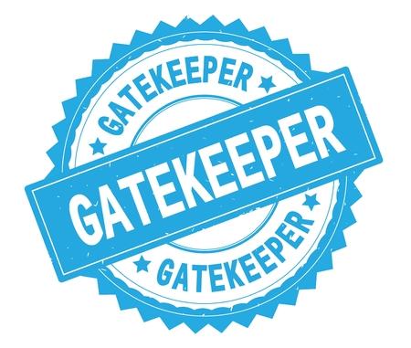 Runder Stempel des blauen Textes GATEKEEPER, mit Zick-Zack-Grenze und Vintager Beschaffenheit. Standard-Bild