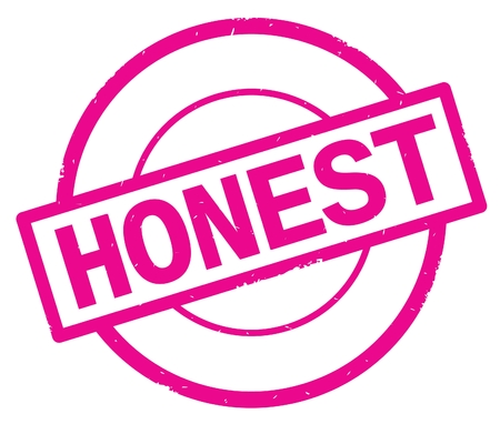 HONEST text, written on pink simple circle rubber vintage stamp.