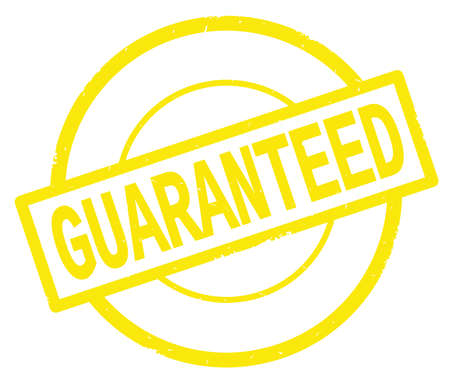 GUARANTEED text, written on yellow simple circle rubber vintage stamp.