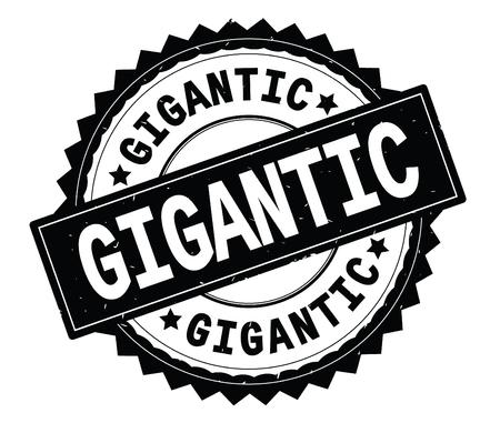 GIGANTIC black text round stamp, with zig zag border and vintage texture. Banco de Imagens