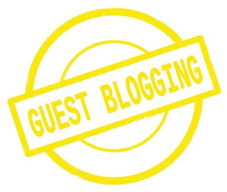 GUEST BLOGGING text, written on yellow simple circle rubber vintage stamp.