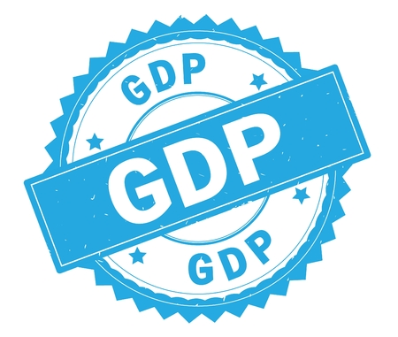 GDP blue text round stamp, with zig zag border and vintage texture. Stock Photo